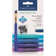 Пастели акварелни Gelatos Faber-Castell, 4 нюанса синьо с четка и шаблон