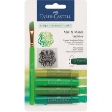Пастели акварелни Gelatos Faber-Castell, 4 нюанса зелено с четка и шаблон