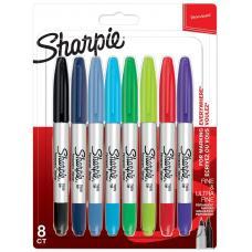 Комплект перманентни маркери Sharpie, TWIN TIP, 8  цвята, блистер