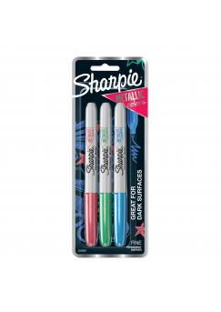 Комплект перманентни маркери Sharpie, F, металик розов/син/зелен, блистер