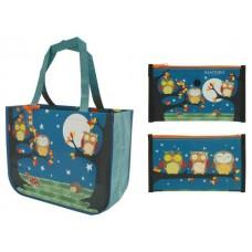 Чанта пазарска сгъваема Night Owls, с джоб с цип, 46х36х16 см