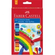 Флумастери Faber Castell Jumbo CONNECTOR, 12 цвята