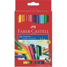 Флумастери Faber-Castell Connector Pen Clip 10 цвята