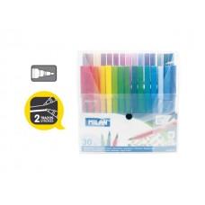Флумастери 30 цвята MILAN , прозрачна кутия, Fine tip 610, Ø 2 мм